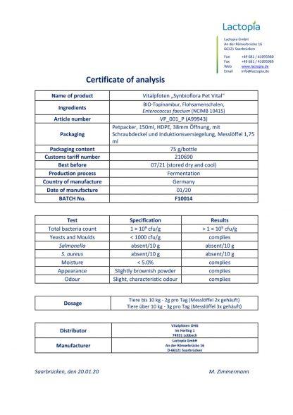 Analyse Zertifikat Probiotikum